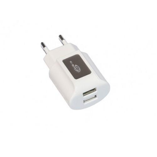 Универсальное зарядное устройство 2 порта USB от сети 220В KS-is Toss (KS-056W)