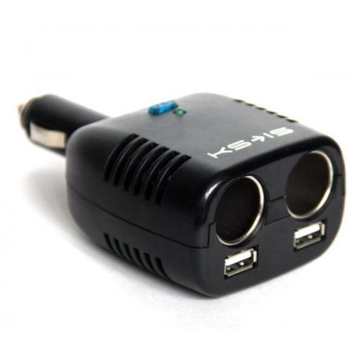 Разветвитель прикуривателя на 2 c USB KS-is Wespez (KS-185)