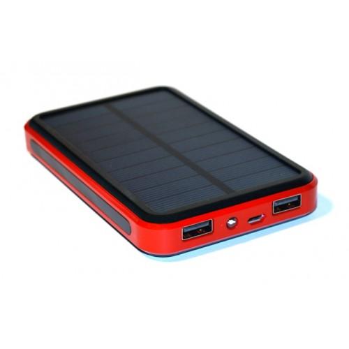 Универсальная батарея KS-is Lisu (KS-225Red) 13800мАч со встроенной солнечной панелью, красная