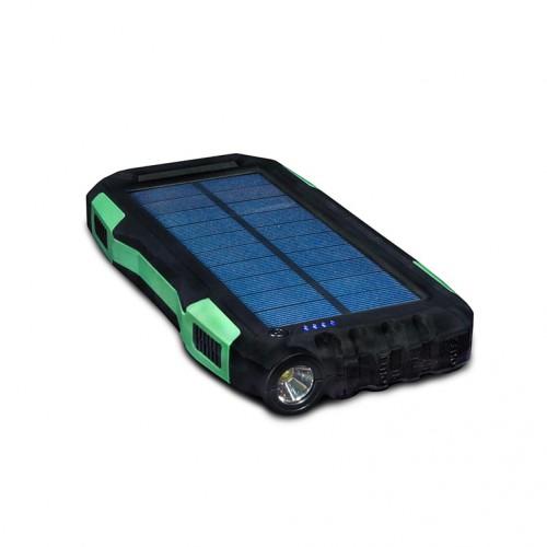 Внешний аккумулятор power bank со встроенной солнечной панелью KS-is (KS-303BG) 20000мАч, черно-зеленый