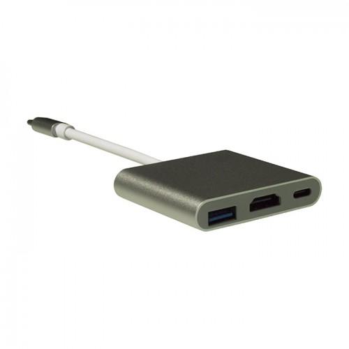 Переходник USB-C в HDMI 3 в 1 KS-is (KS-342)