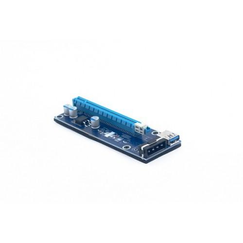 Адаптер удлинитель райзер PCIe 1x в 16x с питанием Molex KS-is (KS-346)