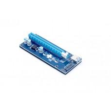 Адаптер удлинитель райзер PCIe 1x в 16x с питанием SATA KS-is (KS-347)