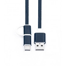 Кабель 2 в 1 USB-microUSB/USB Type C KS-is (KS-349B) 1м чер