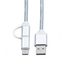Кабель 2 в 1 USB-microUSB/USB Type C KS-is (KS-349S) 1м сер