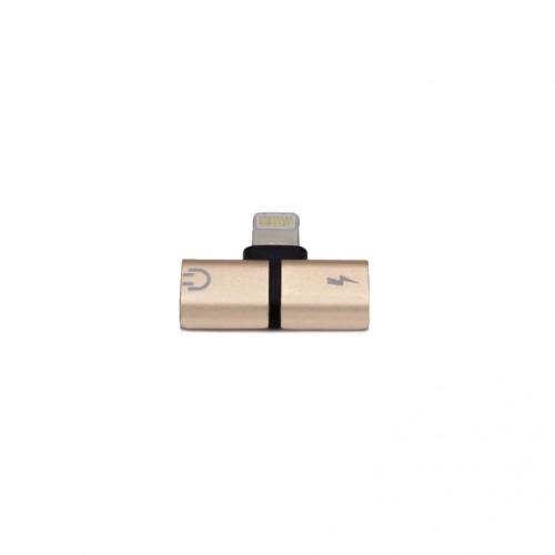 Адаптер разветвитель 2в1 для Apple Lightning (зарядка + аудио) KS-is (KS-354G) золото