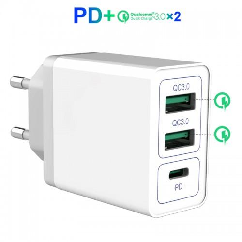 Зарядное устройство USB QC3.0 PD от электрической сети KS-is Qilli (KS-365)