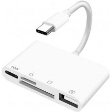 USB-C картридер 4 в 1 на SD, TF, USB OTG, PD KS-is (KS-399)