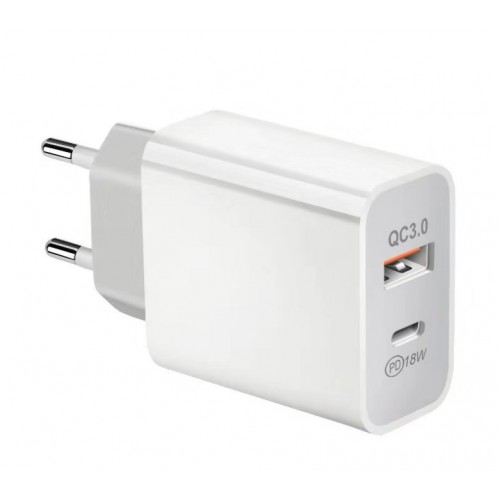 Зарядное устройство USB QC3.0+PD3.0 18Вт от электрической сети KS-is (KS-601)